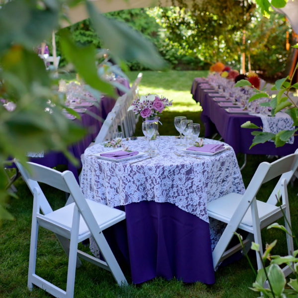 <p>This outdoor wedding was amazing, working with shades of purple and lace giving this a garden romantic feel.<br /> ©New Leaf Photography.</p>